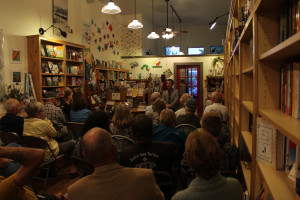 Packed house at Out West Books in Grand Junction, Colorado.